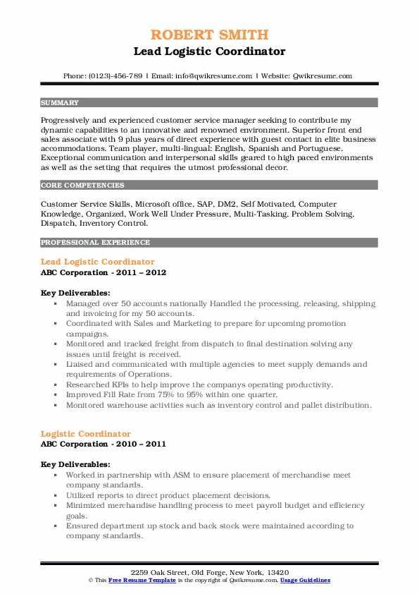 Lead Logistic Coordinator Resume Example