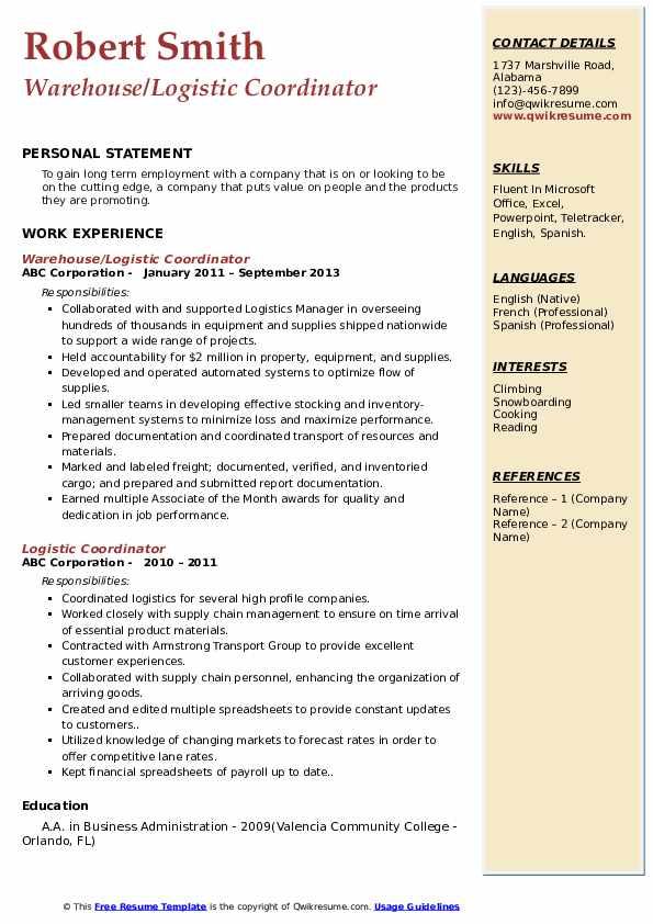 Warehouse/Logistic Coordinator Resume Template