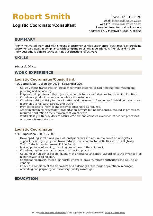 Logistic Coordinator/Consultant Resume Format