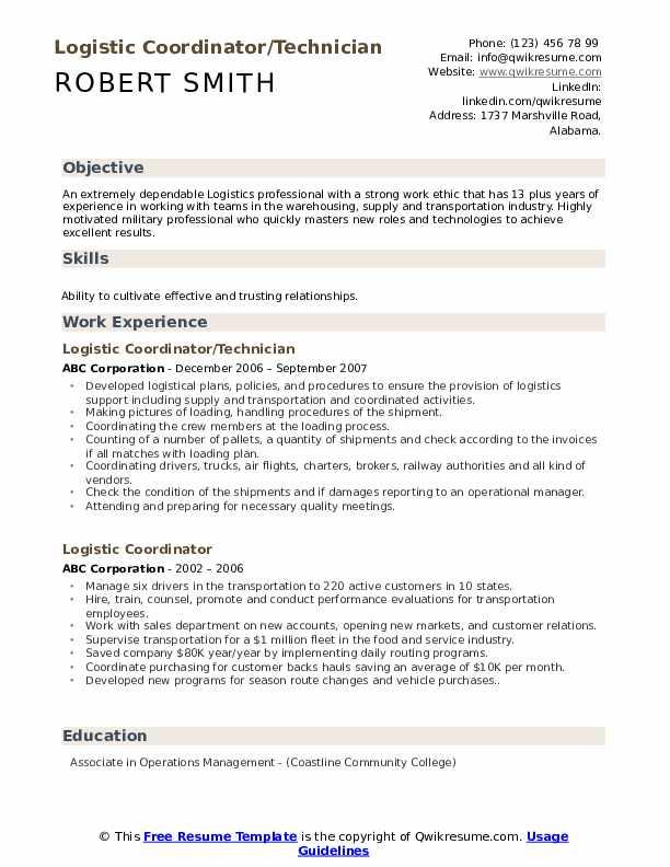 Logistic Coordinator/Technician Resume Sample