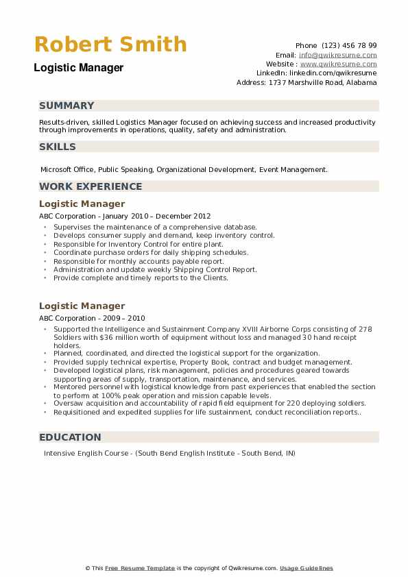 Logistic Manager Resume example