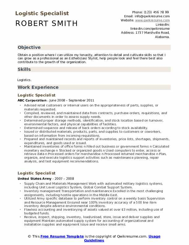 Logistic Specialist Resume Model