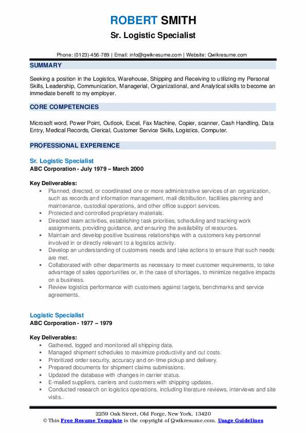 Sr. Logistic Specialist Resume Example