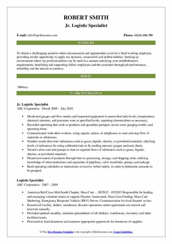 Jr. Logistic Specialist Resume Example