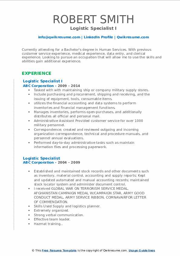 Logistic Specialist I Resume Format