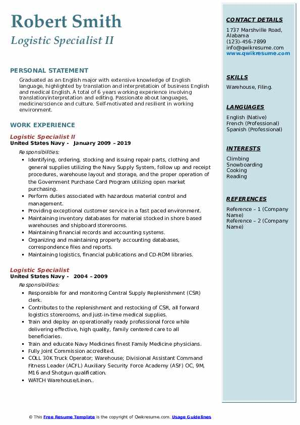 Logistic Specialist II Resume Model