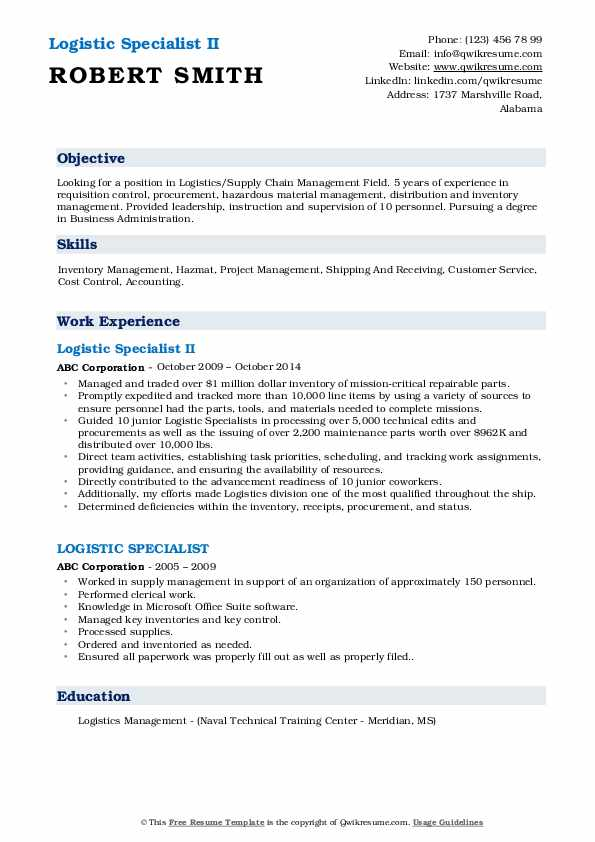 Logistic Specialist II Resume Format