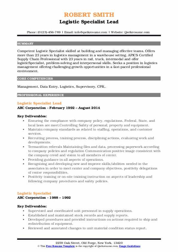 Logistic Specialist Lead Resume Template