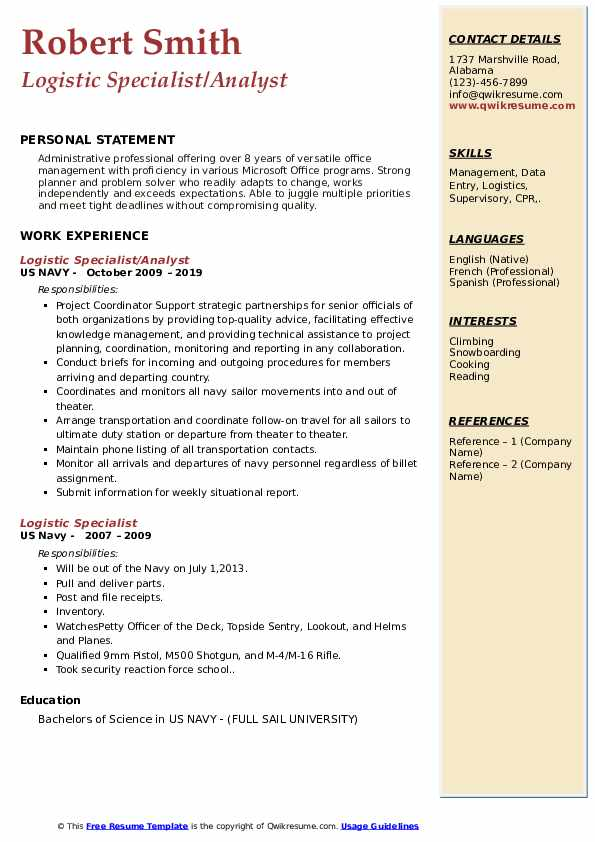 Logistic Specialist/Analyst Resume Sample