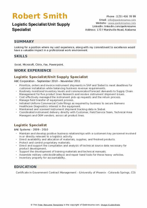Logistic Specialist/Unit Supply Specialist Resume Sample