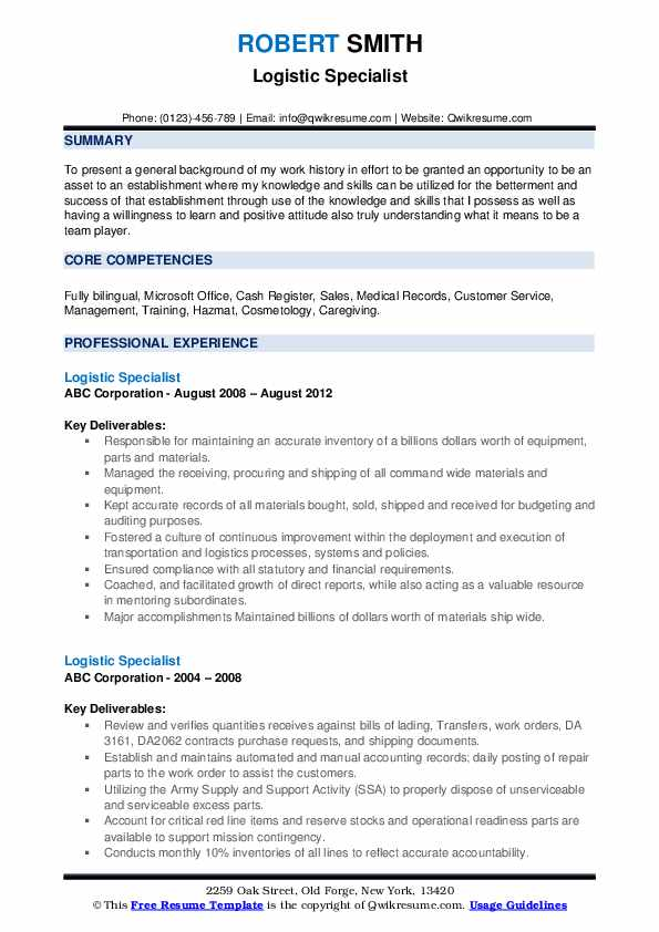 Logistic Specialist Resume example