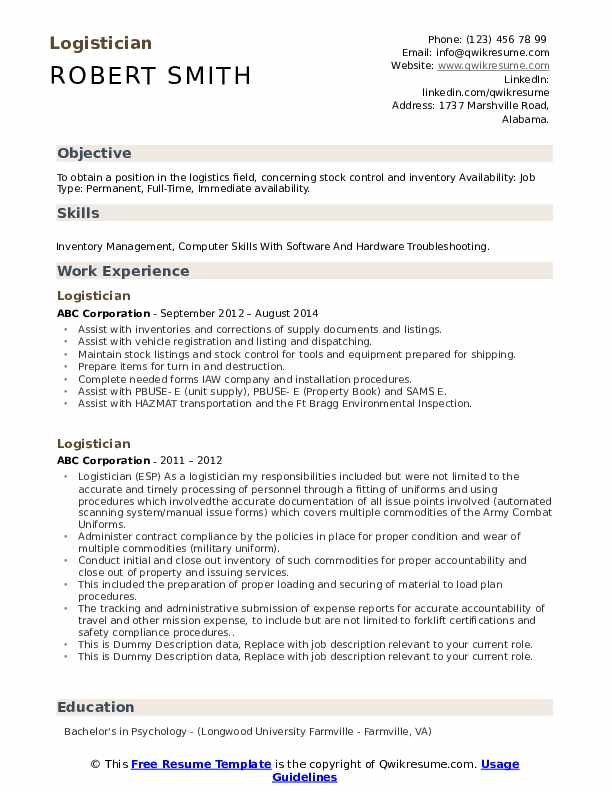 Logistician Resume example