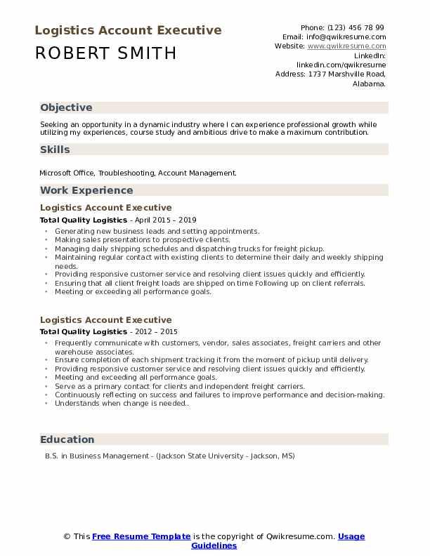 logistics account executive resume samples