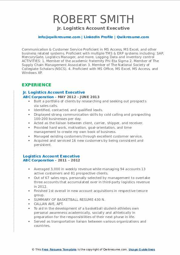 Logistics Account Executive Resume Samples | QwikResume