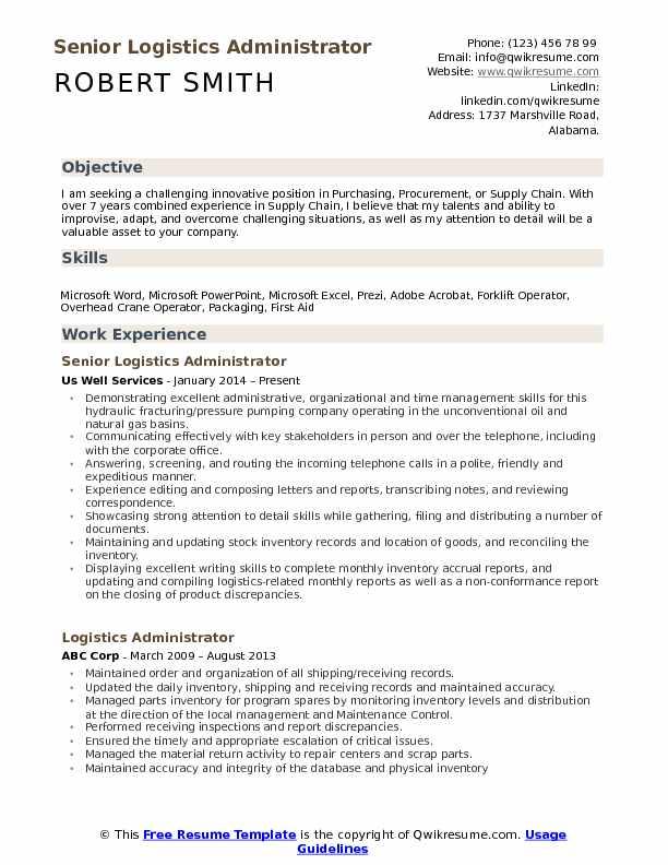 Logistics Administrator Resume Samples | QwikResume
