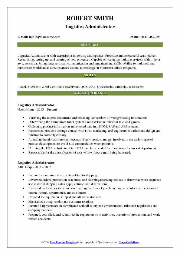 logistics administrator resume samples