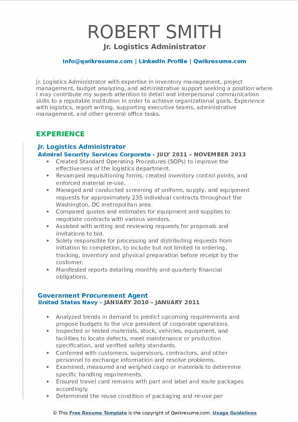 Jr. Logistics Administrator Resume Example