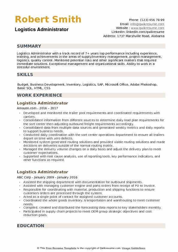 Logistics Administrator Resume example