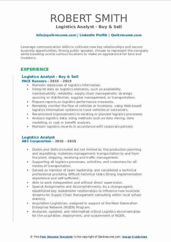 Logistics Analyst - Buy & Sell Resume Example