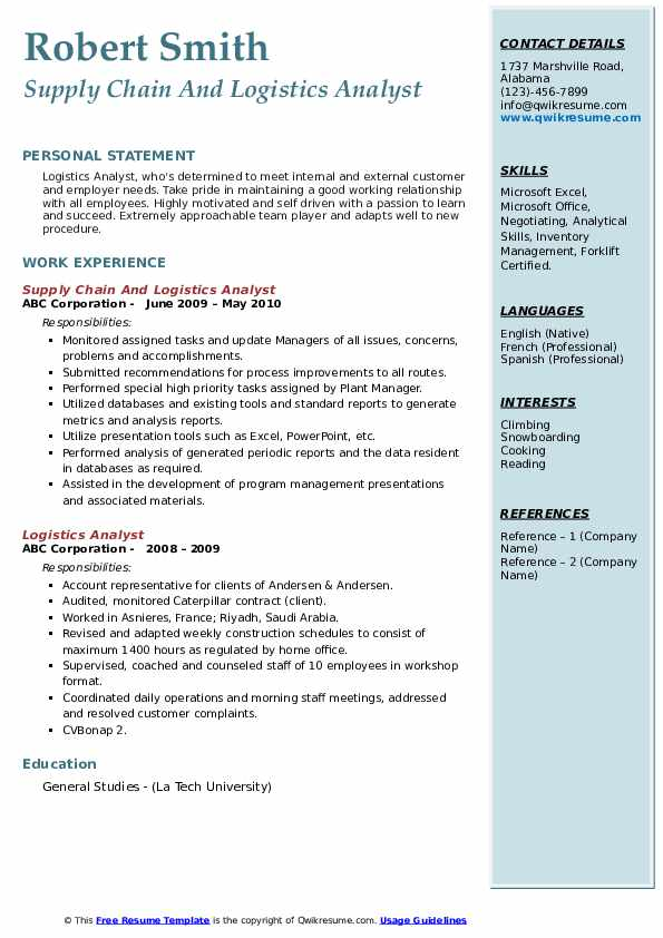 Supply Chain And Logistics Analyst Resume Example