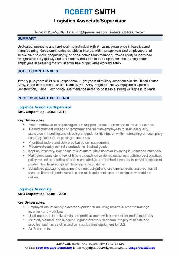 Logistics Associate Resume example