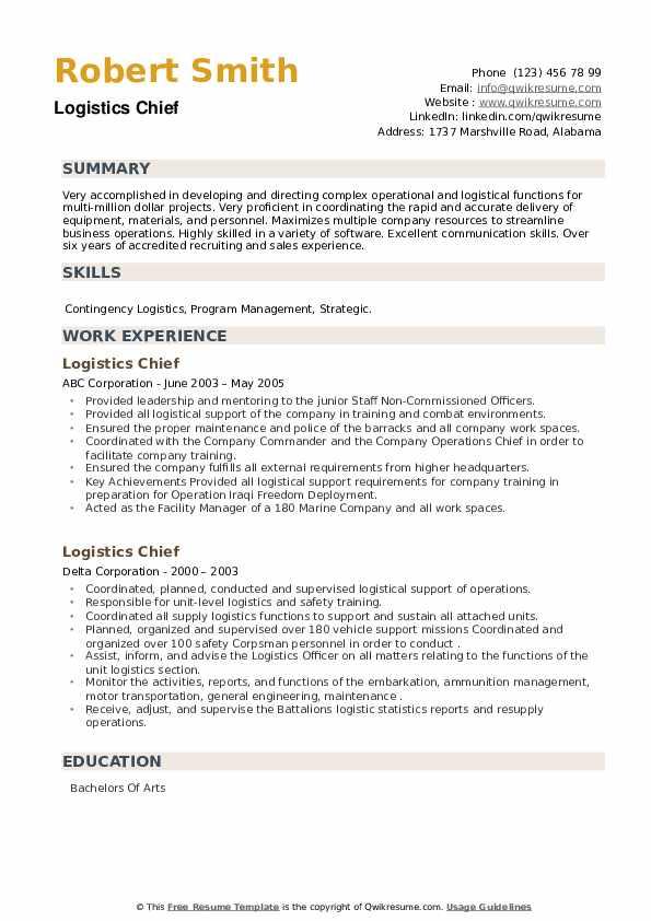 Logistics Chief Resume example