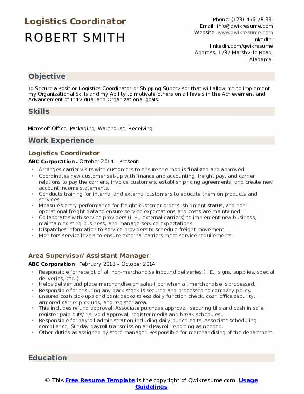 logistics coordinator resume samples