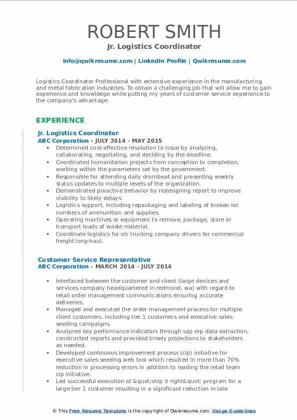 Jr. Logistics Coordinator Resume Example