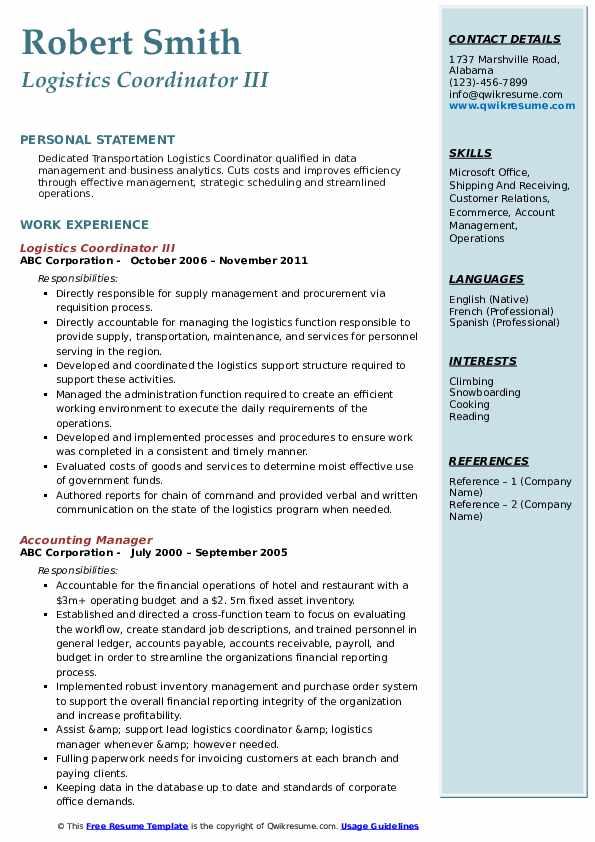 Logistics Coordinator III Resume Example