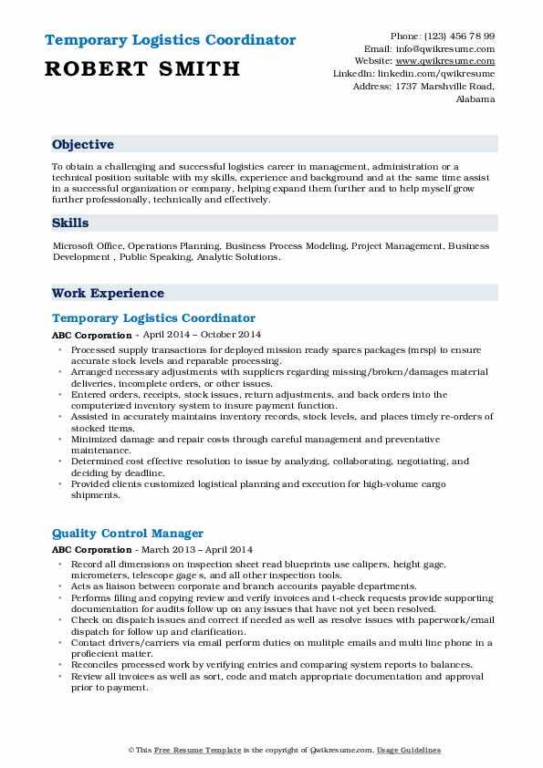 Logistics Coordinator Resume Samples | QwikResume