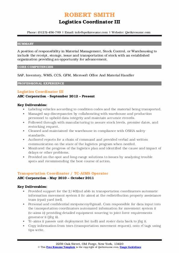 Logistics Coordinator III Resume Template