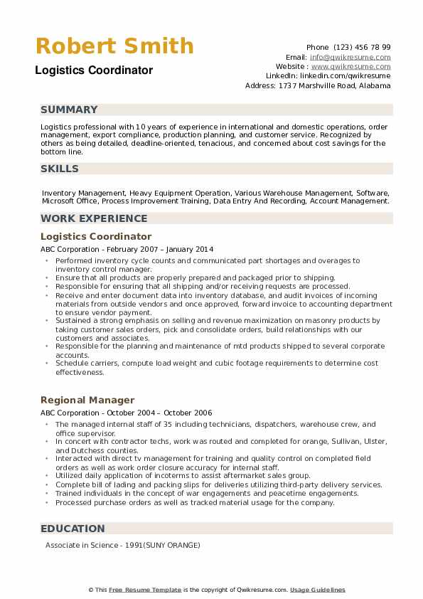 Logistics Coordinator Resume Samples   QwikResume