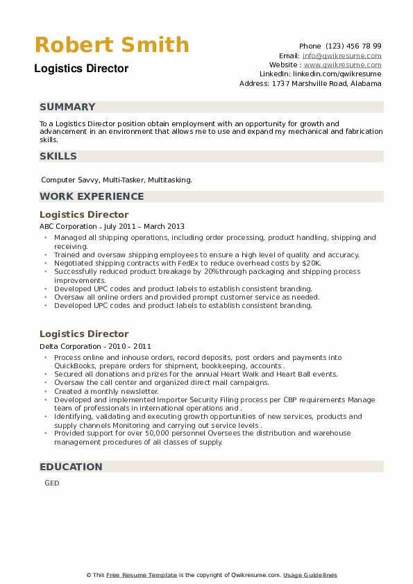 Logistics Director Resume example