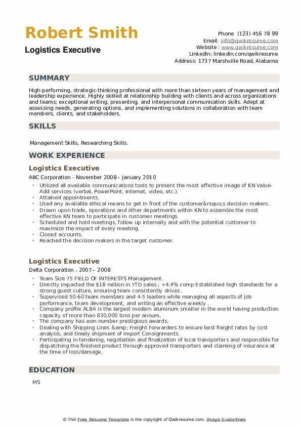 Logistics Executive Resume example
