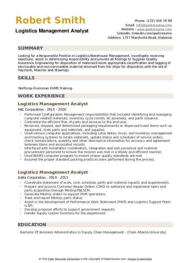 Logistics Management Analyst Resume example