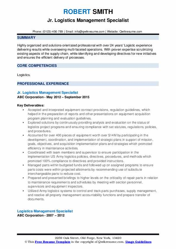 Jr. Logistics Management Specialist Resume Model