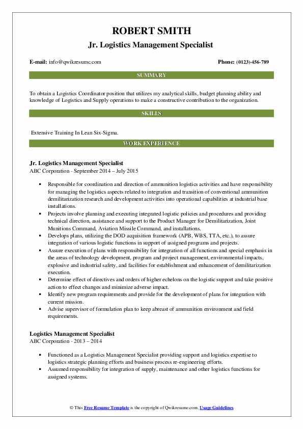 Jr. Logistics Management Specialist  Resume Sample