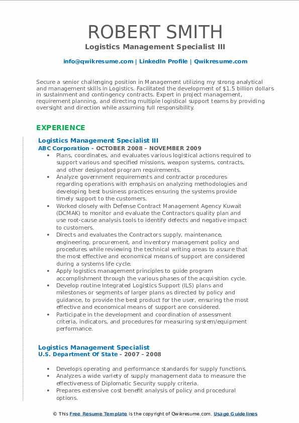 Logistics Management Specialist III Resume Template