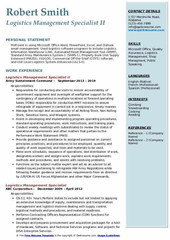 Logistics Management Specialist II Resume Sample