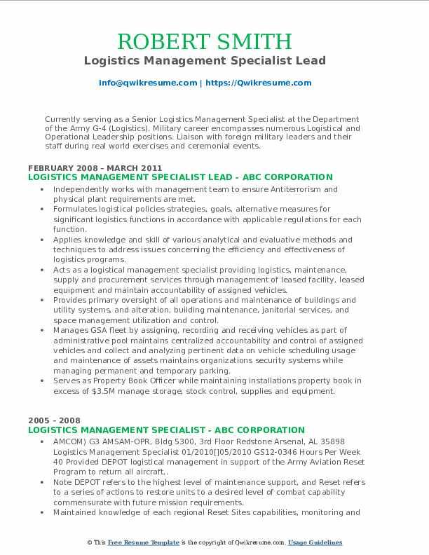 Logistics Management Specialist Lead Resume Model