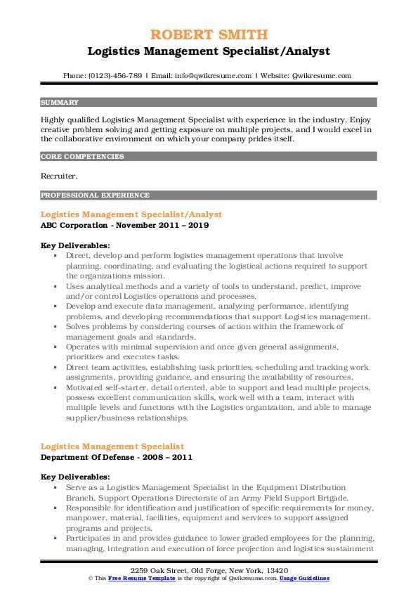 Logistics Management Specialist/Analyst Resume Example