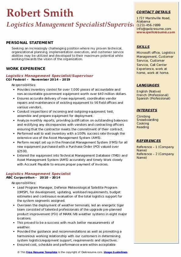 Logistics Management Specialist/Supervisor Resume Format