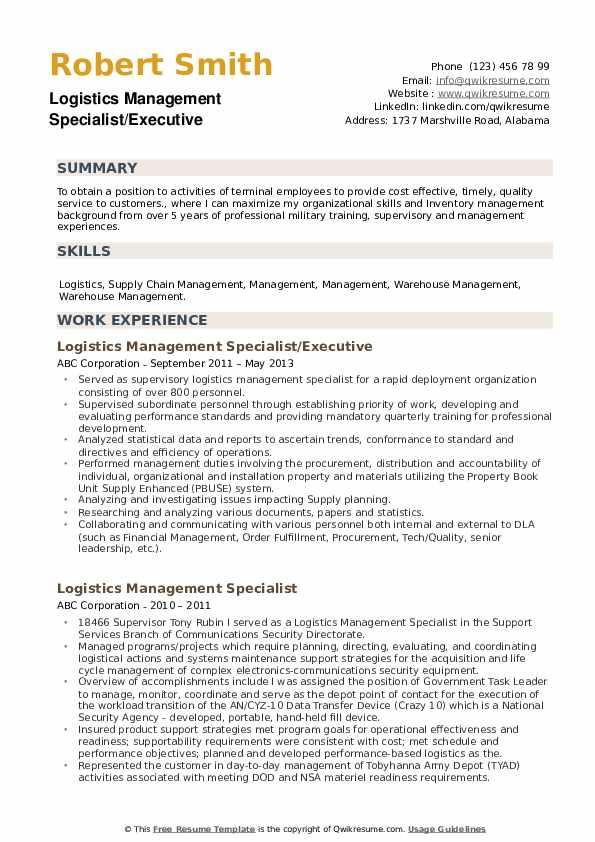 Logistics Management Specialist/Executive Resume Sample