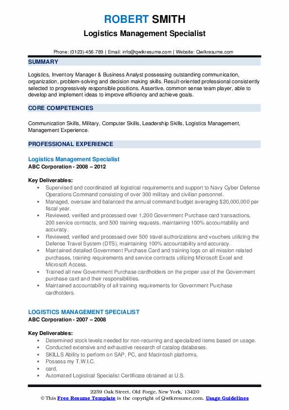 Logistics Management Specialist Resume example