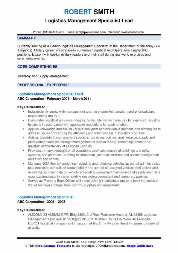 Logistic Coordinator Resume example