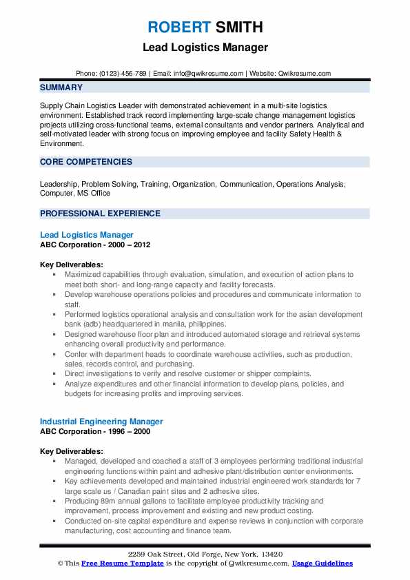 Lead Logistics Manager Resume Template