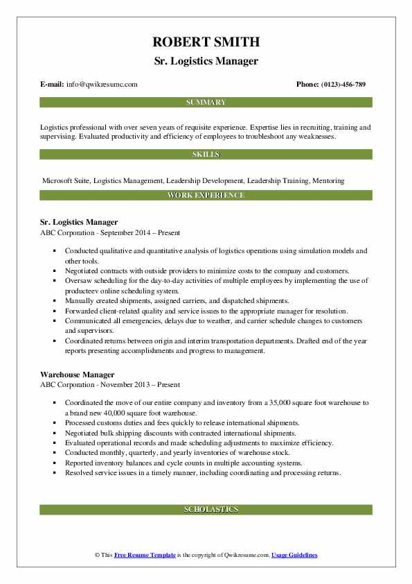 Sr. Logistics Manager Resume Model