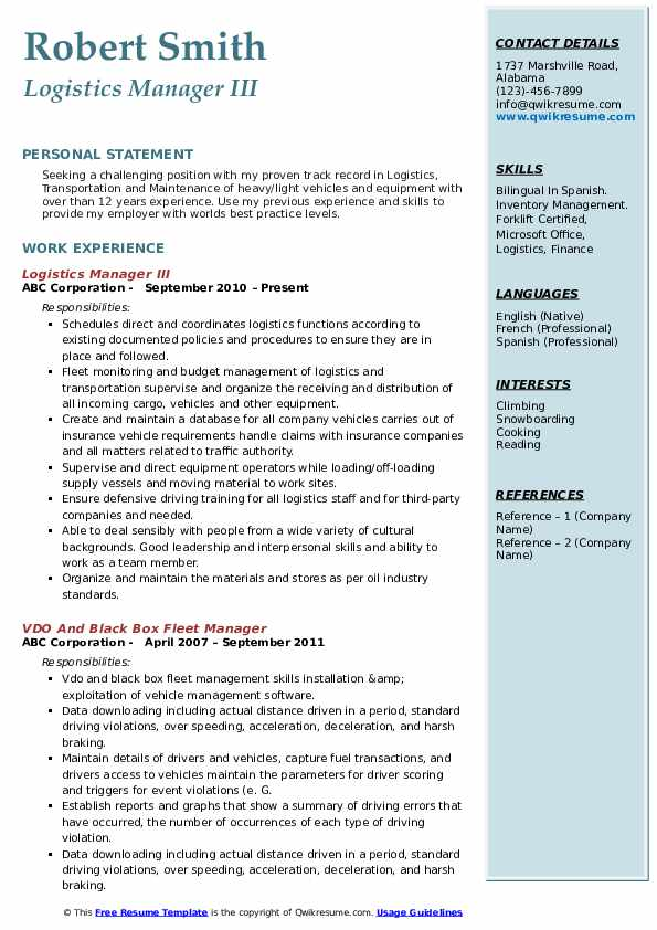 Logistics Manager III Resume Template