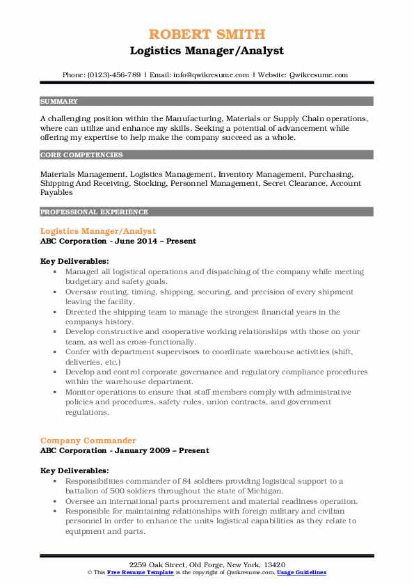 Logistics Manager/Analyst Resume Example