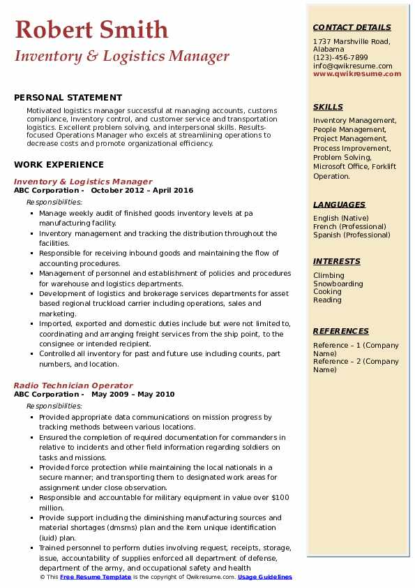 Logistics Manager Resume Samples Qwikresume